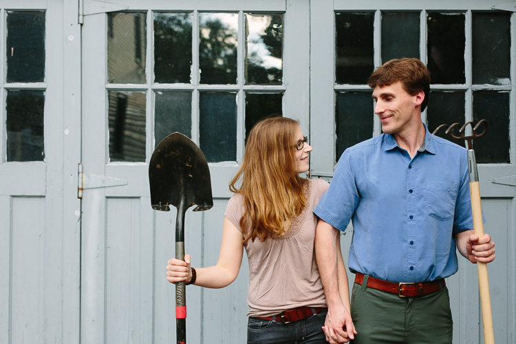 relaxed engagement portrait not quite American Gothic
