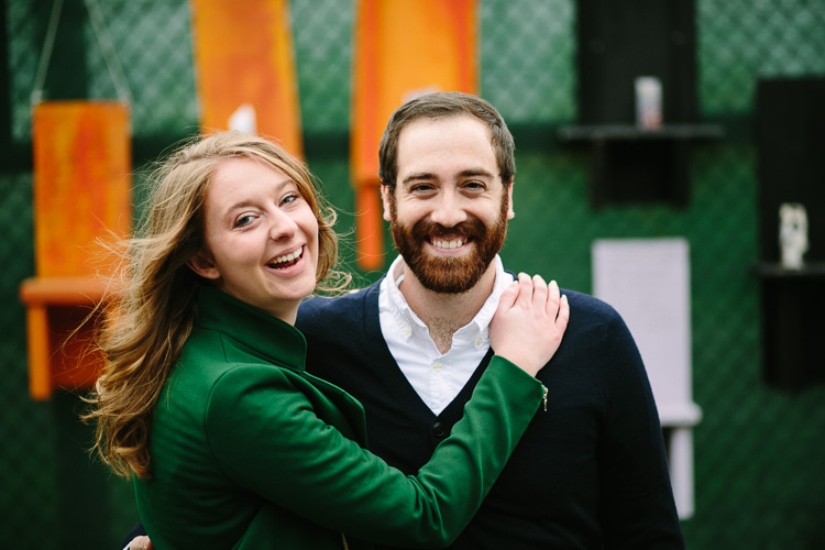 colorful East Boston engagement photo
