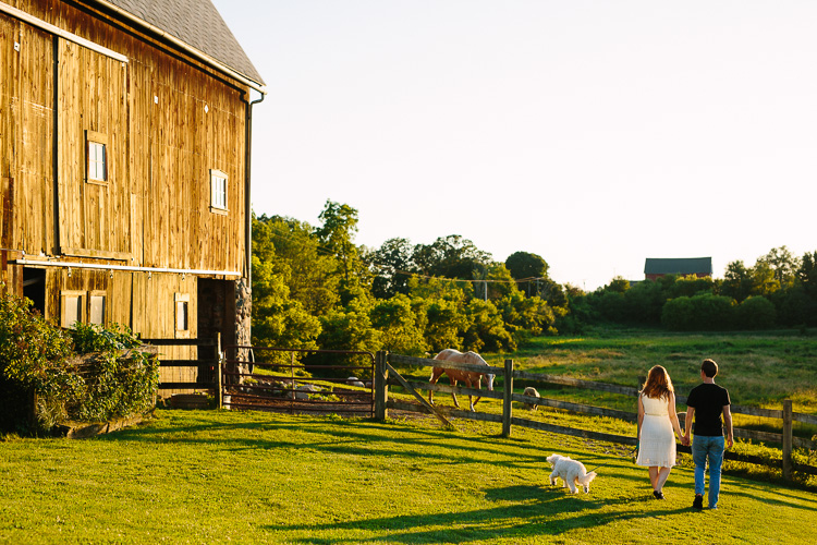 Misty Farm engagement session in golden light, by Kelly Benvenuto Photography