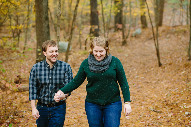 happy fall engagement photos at breakheart reservation in Saugus, Massachusetts