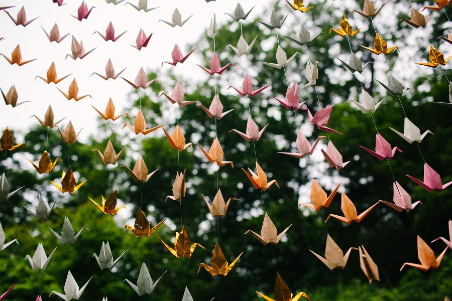 paper cranes at Lyman Estate wedding