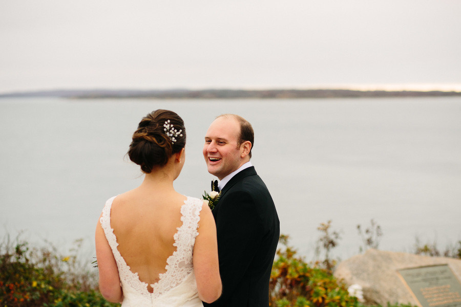 Caitlin and Tom's wedding portraits at Nobska Light | Kelly Benvenuto Photography | Boston Wedding Photographer